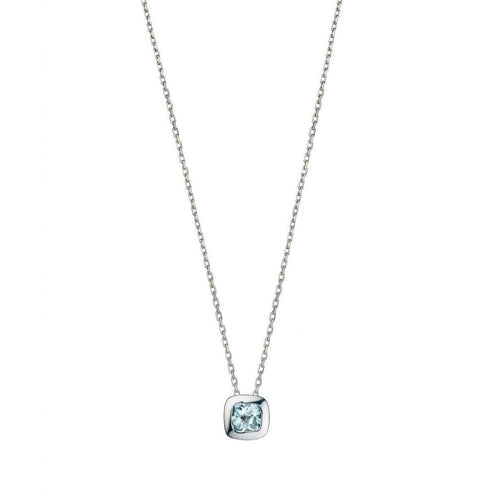 Silver and Blue Topaz Checkerboard Necklace-Necklaces-Purnell-JewelStreet