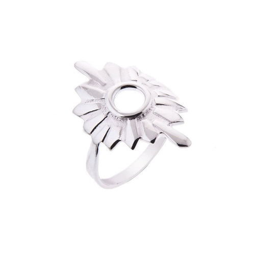 Silver Large Sunburst Ring-Rings-Taylor Black-JewelStreet