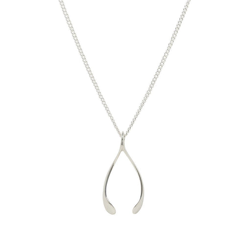 Small Silver Wishbone Charm-Necklaces-Katie Mullally-JewelStreet