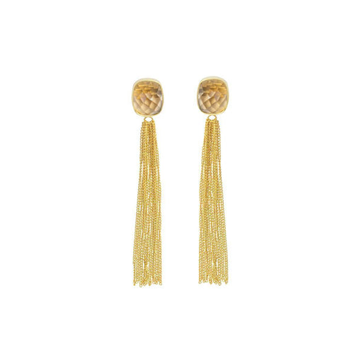 Smoky Topaz Gold Fringe Earrings ,[product vendor],JewelStreet