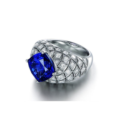 Square Cushion Cut Tanzanite Diamond Cocktail Ring-Rings-SILVER YULAN-JewelStreet