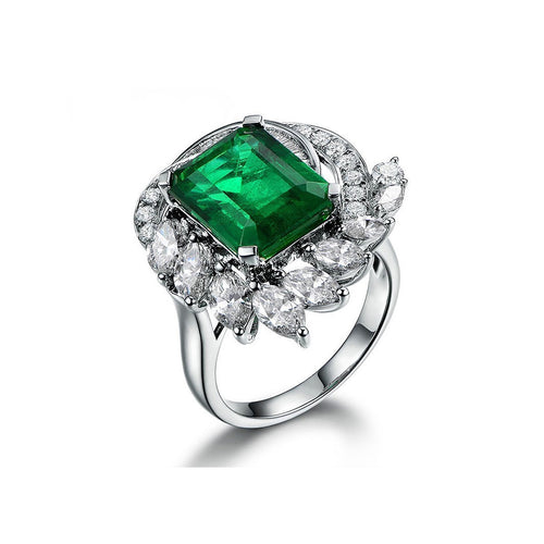 Square Cut Emerald Diamond Accent Ring-Rings-SILVER YULAN-JewelStreet