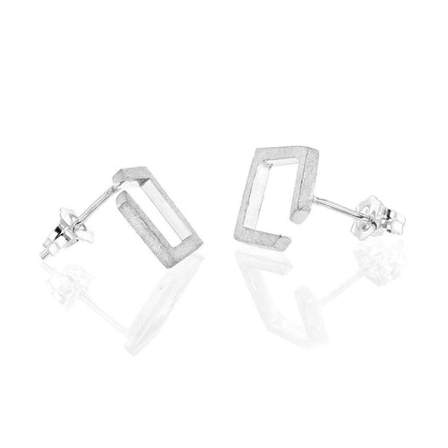 Square Silver Earrings ,[product vendor],JewelStreet