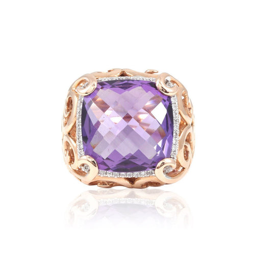 Stella Amethyst Cocktail Ring-Rings-Estenza-JewelStreet