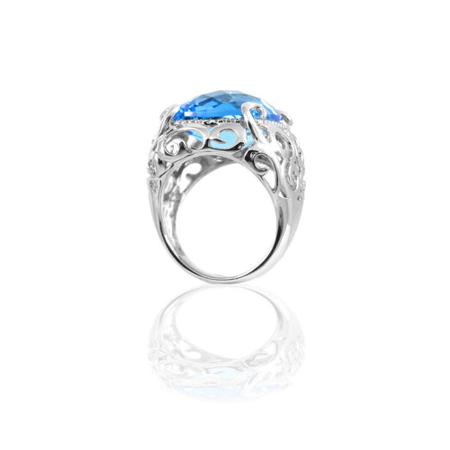 Stella Blue Topaz Cocktail Ring-Rings-Estenza-JewelStreet