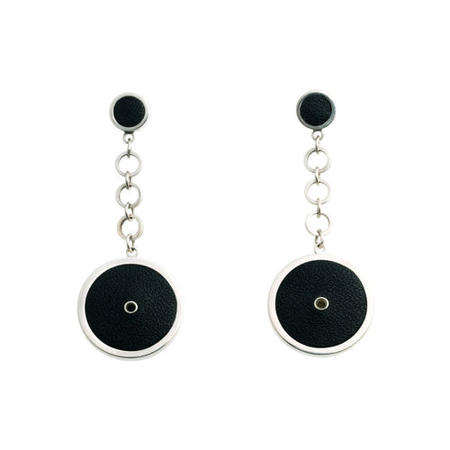 Sterling Silver & Leather Circle Earrings ,[product vendor],JewelStreet