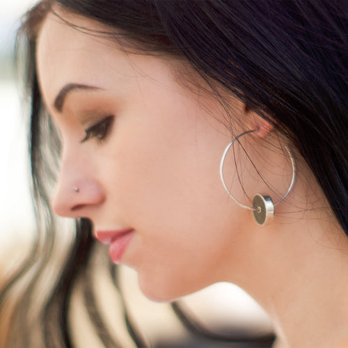Sterling Silver & Leather Khaki Hoop Earrings ,[product vendor],JewelStreet
