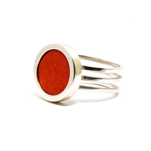 Sterling Silver & Red Leather Ring ,[product vendor],JewelStreet