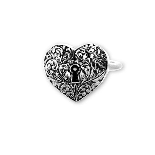 Engraved Heart Locket Ring-Rings-Metal Couture-JewelStreet