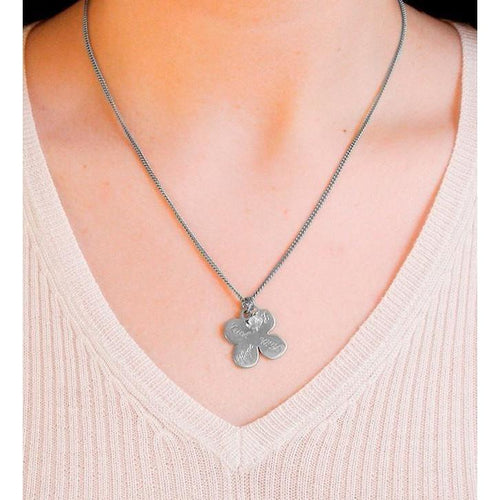Four Leaf Clover Pendant Silver-Necklaces-Vicky Davies-JewelStreet