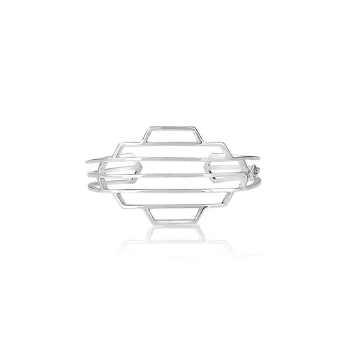 High Line Collection Geometric Cuff Silver ,[product vendor],JewelStreet