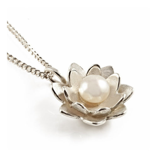 Lotus Pearl Pendant Silver-Necklaces-Vicky Davies-JewelStreet