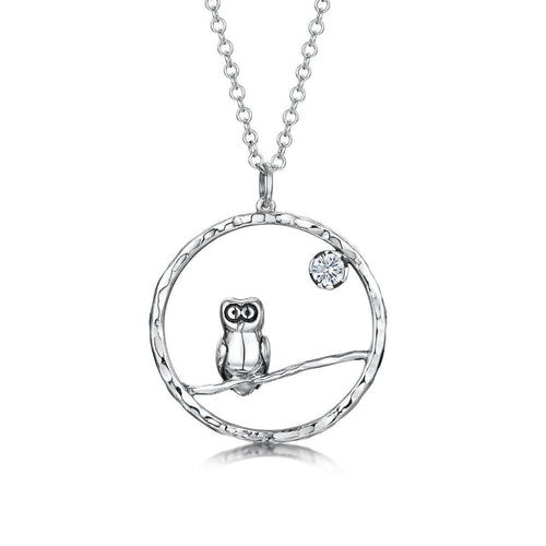 Sterling Silver Owly Charm-Necklaces-Becky Rowe-JewelStreet