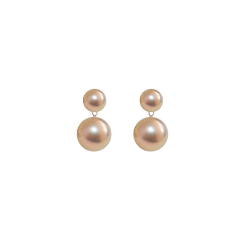 Sterling Silver - Duet Pearl Earrings - Pink And Gold-Earrings-ORA Pearls-JewelStreet
