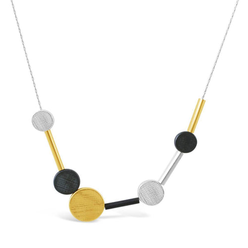 Sterling Silver, Black & Gold Dot & Disc Necklace ,[product vendor],JewelStreet