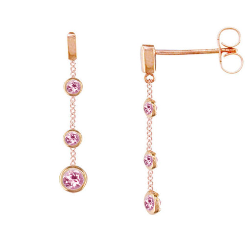Stylish Rose Gold Pink Tourmaline Dew Drop Earrings ,[product vendor],JewelStreet