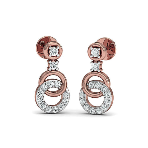 Sure-fire Polished 18Kt Rose Gold Diamond Stud Earrings-Earrings-Diamoire Jewels-JewelStreet
