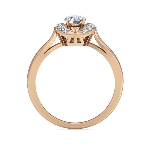 Swarovski Zirconia Solitaire Ring in 10Kt Rose Gold-Rings-Diamoire Jewels-JewelStreet