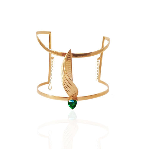 Sway Cuff in Yellow Gold Vermeil With Emerald Coloured Trillion Glass-Bracelets-Jane North-JewelStreet
