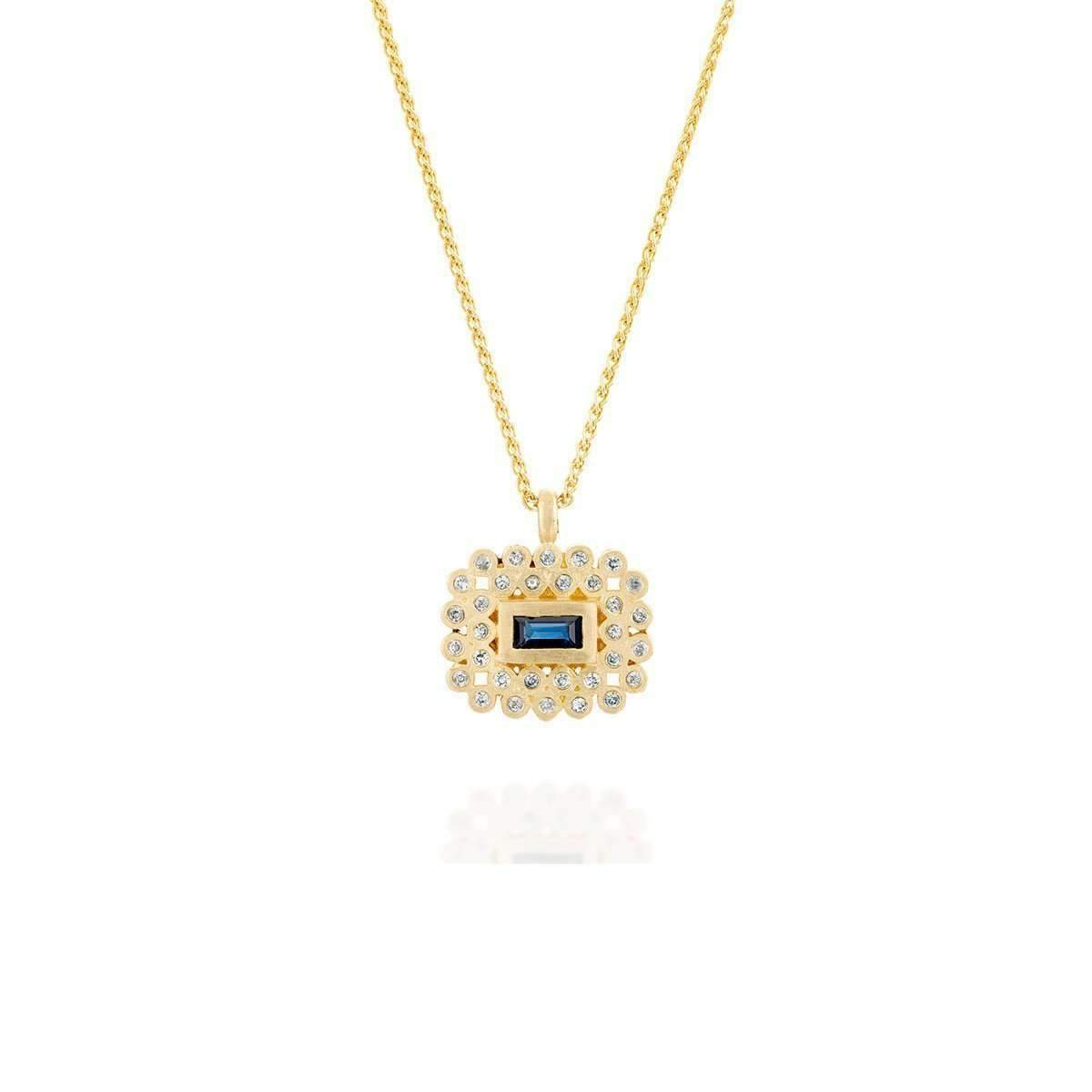 Tal Blue Sapphire 18kt Gold Necklace-Necklaces-Michal Bendzel Friedman Jewelry Design-JewelStreet
