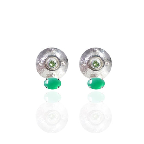Targe Stud Earrings in Sterling Silver With Green Onyx and Peridot-Earrings-Jane North-JewelStreet