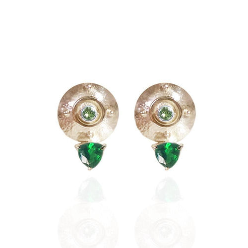 Targe Stud Earrings Stud in 18kt Yellow Gold Vermeil With Emerald Coloured Hard Mass and Peridot-Earrings-Jane North-JewelStreet