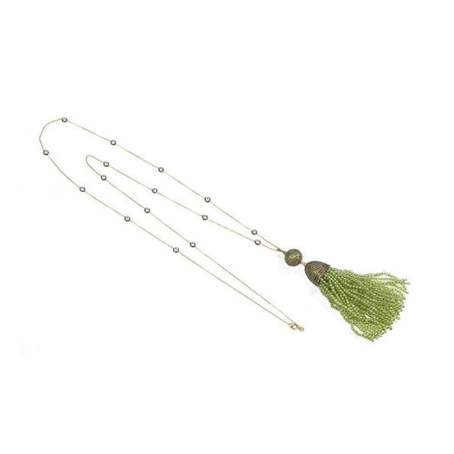 Tassel Ball Necklace Peridot-Necklaces-Latelita London-JewelStreet