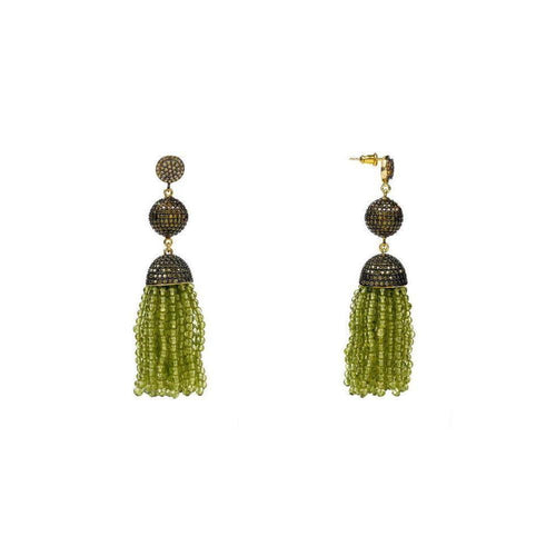 Tassel Ball Peridot Oxidized Earrings-Earrings-Latelita London-JewelStreet
