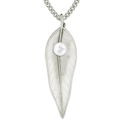 Terre-et-Mer Leaf & Pearl Necklace - Silver-Necklaces-StyleRocks-JewelStreet