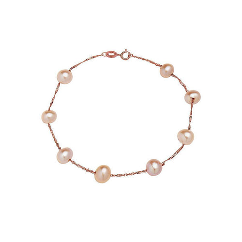 Tin Cup Pearl Bracelet Rose Gold ,[product vendor],JewelStreet