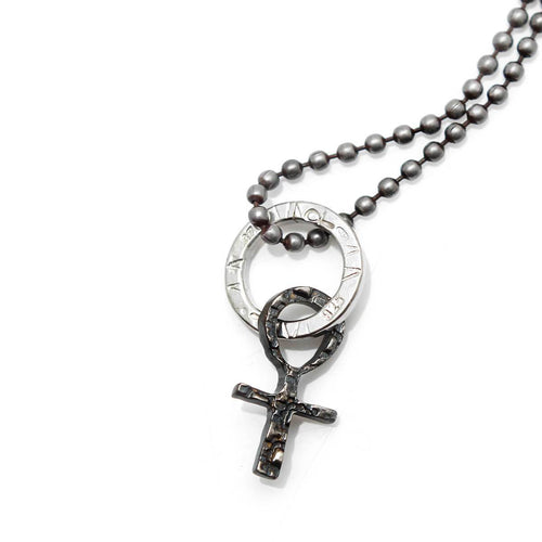 Totem and Man Cross Pendant Black Rhodium Plated ,[product vendor],JewelStreet
