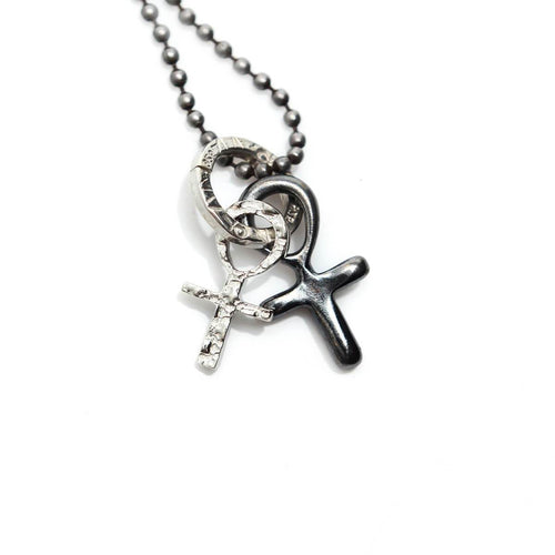 Totem and Man Two Cross Pendant Black Rhodium Plated ,[product vendor],JewelStreet