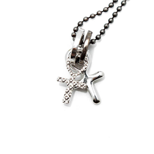 Totem and Man Two Cross Pendant Silver ,[product vendor],JewelStreet