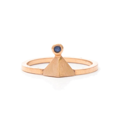 Triangle Pyramid She Sapphire Midi Ring-Rings-Uma K-JewelStreet