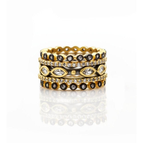 Triple Marquise Bead Set of 5 Rings ,[product vendor],JewelStreet