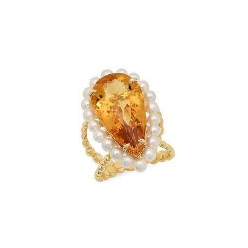 Victoria Citrine Cocktail Ring-Rings-Victoria Six-JewelStreet