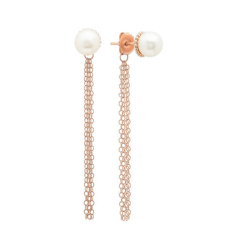 Viola Pearl Studs with Tassel Back-Earrings-Victoria Six-JewelStreet