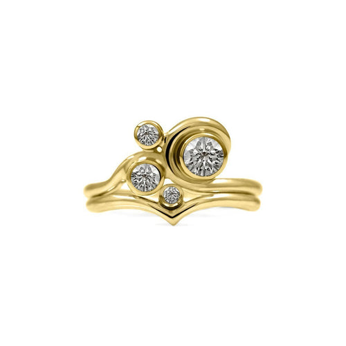 Wave Accent Ring In Gold With Sapphire Or Diamond ,[product vendor],JewelStreet