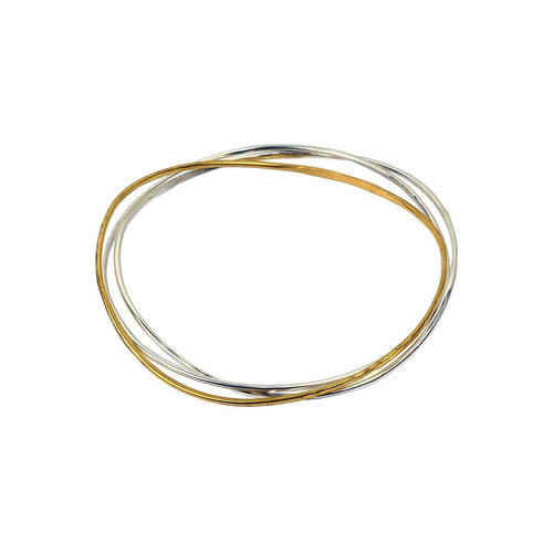Wave Bangle Cluster - Two Silver, One Vermeil-Bracelets-FRAN REGAN JEWELLERY-JewelStreet