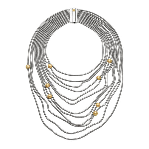 Waves Yellow Gold Necklace-Necklaces-Franco Piane Designed By Franco Pianegonda-JewelStreet