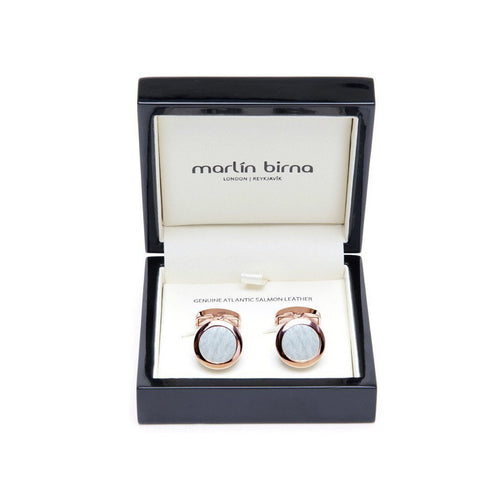 Atlantic Salmon Leather Cufflinks - Rose Gold Finished Stainless Steel With Pearly White-Cufflinks-Marlin Birna-JewelStreet