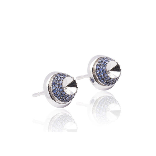 White Gold and Blue Sapphire Opulent Earrings-Earrings-Xavier Civera-JewelStreet