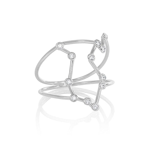 White Gold Aquarius Star Sign Constellation Ring-Rings-Jessie V E-JewelStreet