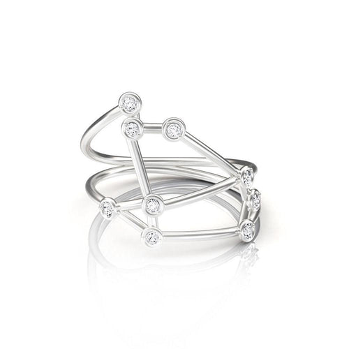 White Gold Aries Star Sign Constellation Ring-Rings-Jessie V E-JewelStreet