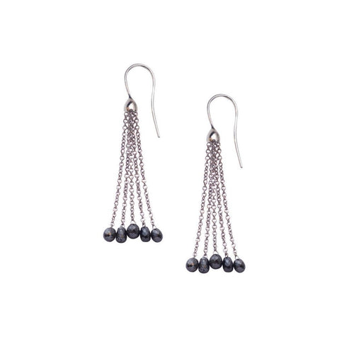 White Gold Black Diamond Tassel Drop Earrings-Earrings-London Road Jewellery-JewelStreet