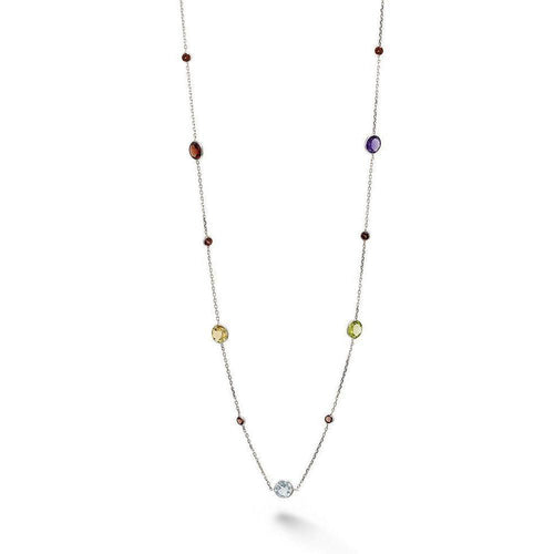White Gold Multi Colour Short Necklace-Necklaces-BCOUTURE-JewelStreet