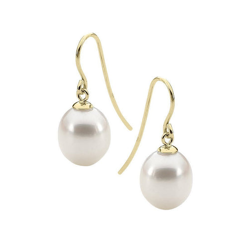 White Pearl Yellow Gold Drop Earrings-Earrings-StyleRocks-JewelStreet
