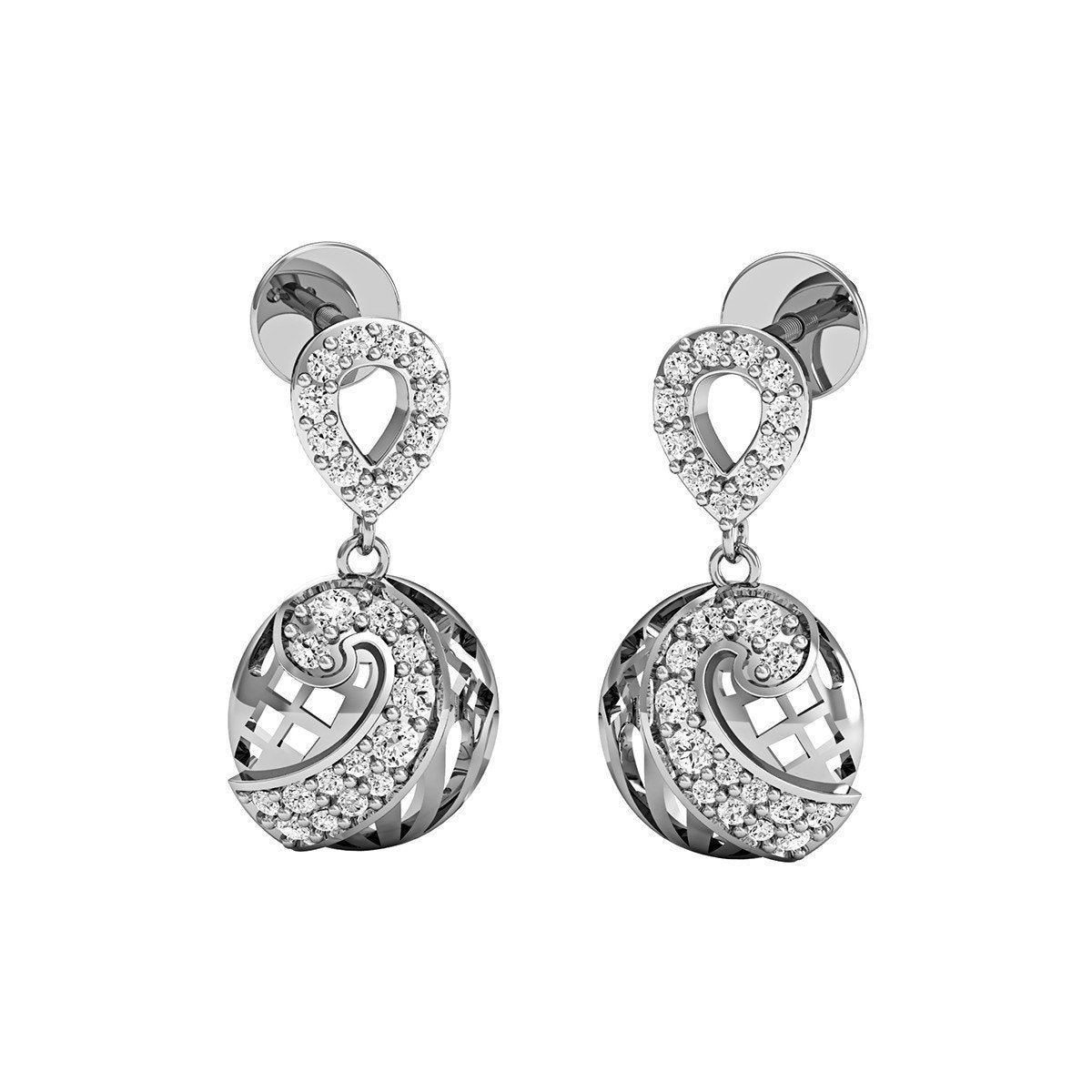 White Premium Diamonds and 10kt White Gold Nature Inspired Earrings