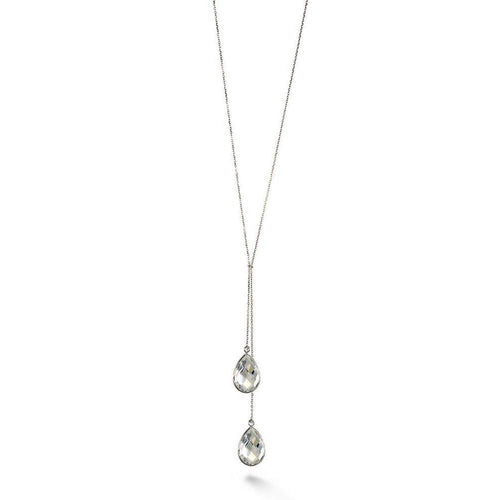 White Topaz Accent Double Drop Short Necklace-Necklaces-BCOUTURE-JewelStreet