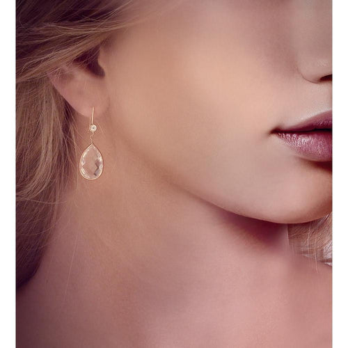 White Topaz Accent Drop Earrings in Rose Gold ,[product vendor],JewelStreet